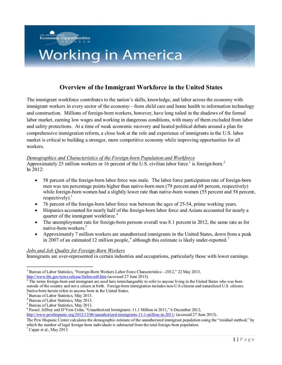 Fact Sheet on Foreign-Born Workforce