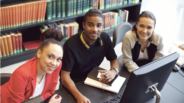students at library