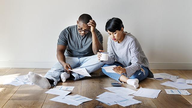 Couple managing debt