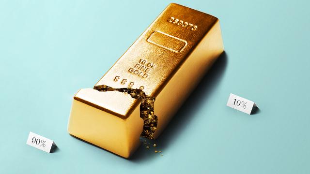 Gold bar split between 90% and 10%