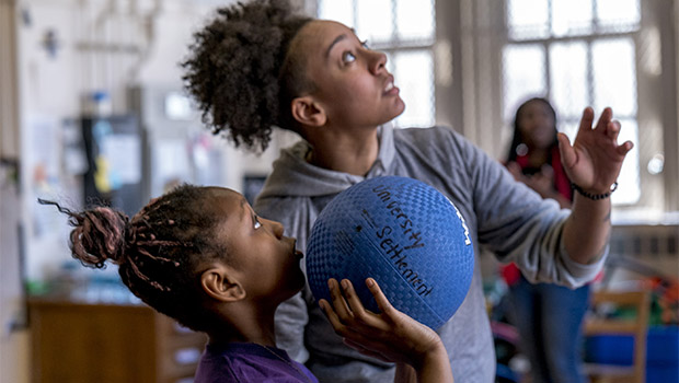 girl with ball at star academy