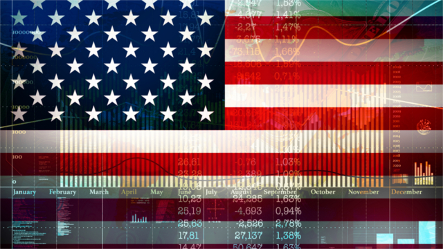 Economic charts and indicators superimposed on an American flag
