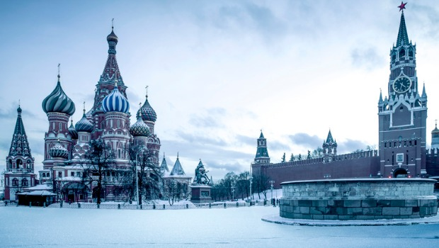 St. Basil's Cathedral on the Red Square in Moscow, covered in snow.