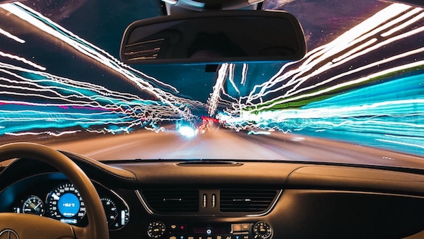 Time-lapse photo of driving at night
