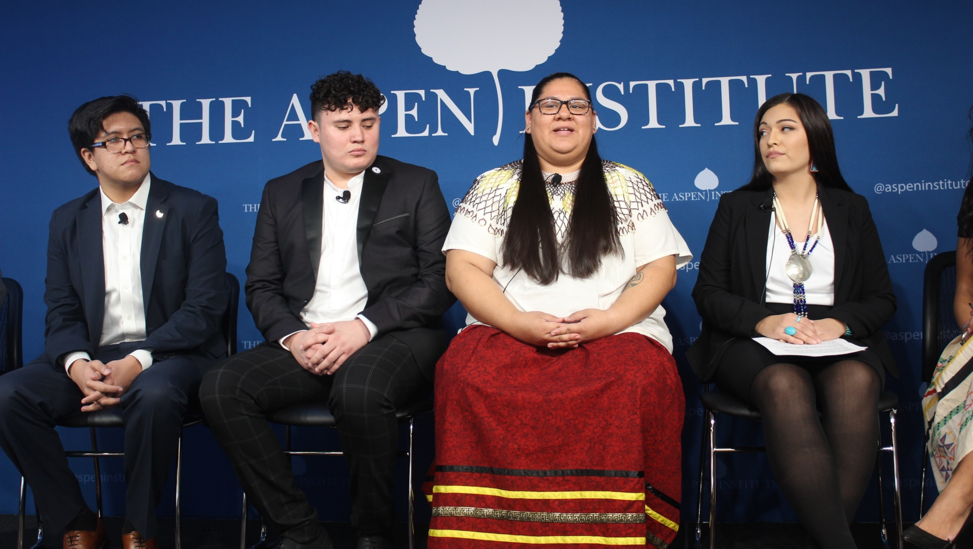 Native Youth leaders speaking at CNAY's event for the release of the 2019 State of Native Youth Report.