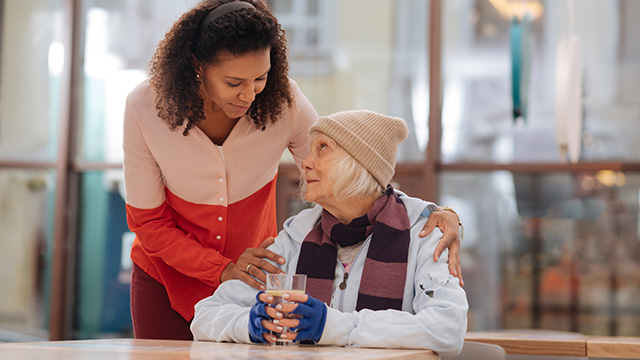 Housing volunteer with woman