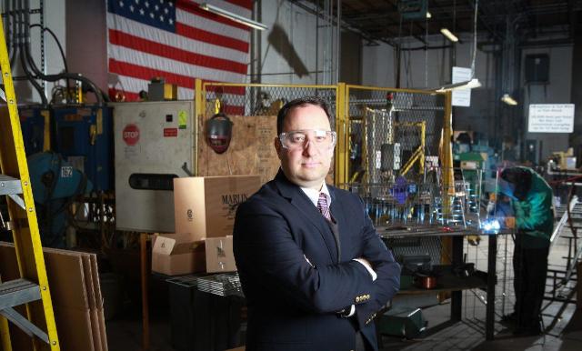 Photo of Drew Greenblatt (President, Marlin Steel) in his factory