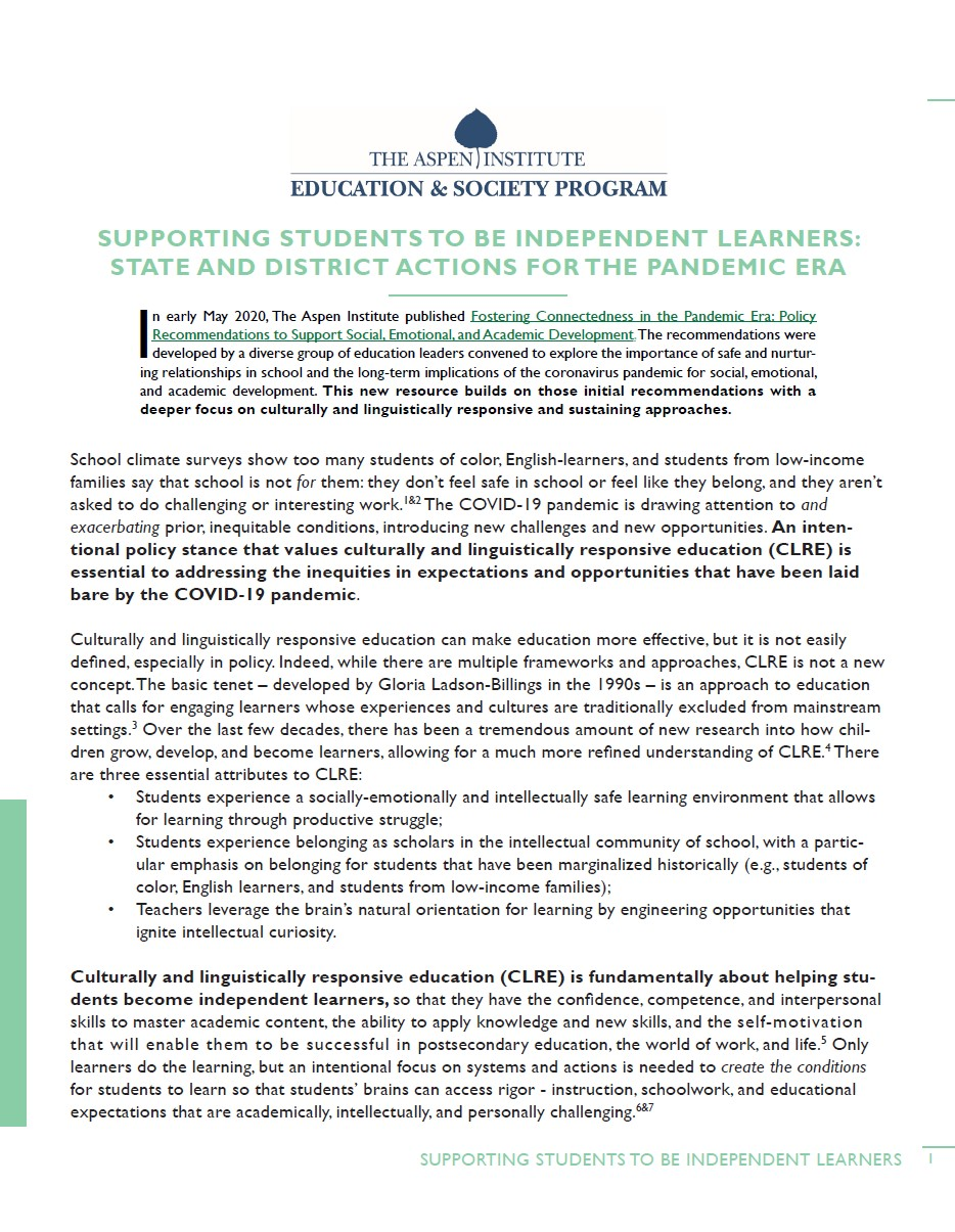 Supporting Students to be Independent Learners: State and District Actions for the Pandemic Era